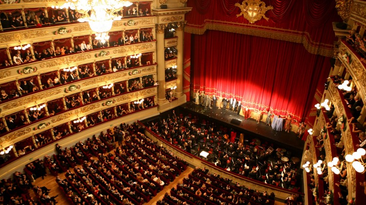 "** FILE **In this photo released by Teatro alla Scala, the cast of  Giuseppe Verdi's ""Aida"" acknowledges the applause at the end of the opera at La Scala theater, in Milan, Italy, Thursday, Dec. 7, 2006. La Scala canceled a long-awaited performance of Verdi's ''Requiem'' conducted by Daniel Barenboim due to a strike by the opera house's 800 employees. The ''Requiem'' performance scheduled for Friday, Nov. 9, 2007  was to cap a year of commemorations marking the 50th anniversary of the death of Arturo Toscanini and mark one of Barenboim's first appearances in his new role as La Scala's principal guest conductor, was called off. (AP Photo/Marco Brescia/Teatro alla Scala) / SCANPIX Code: 436"